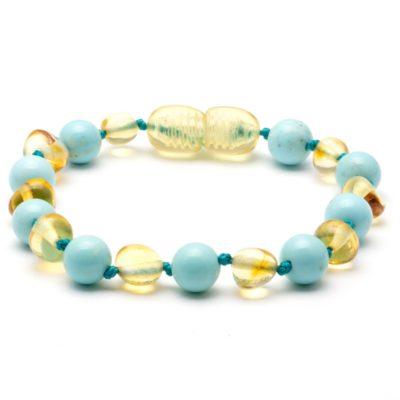 Kinderarmband draaisluiting honning & turquoise amber