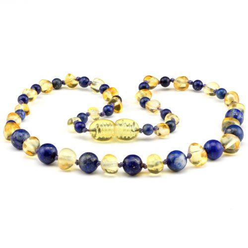barnsteen kinderketting honing & lapis lazuli