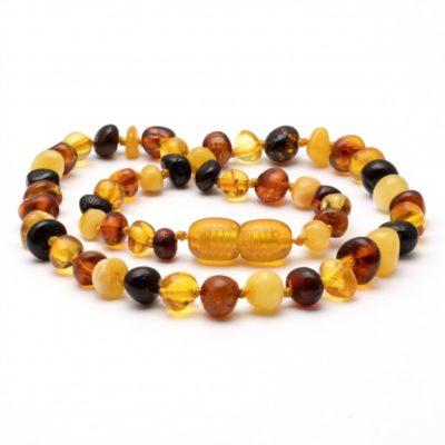 barnsteen kinderketting 38 cm slanke kraal mix glans amber