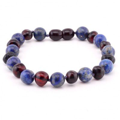 kinder armbandje cherry met lapis lazuli licht amber